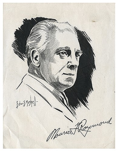 Raymond, Maurice F. (Morris Raymond Saunders). Portrait of Raymond. Edward Mishell, ca. 1940s. Pen and ink on paper. Bust portrait of the magician with the artistÍs rendering of his signature in the bottom margin. Signed by the artist lower left.