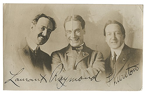 Raymond, Maurice F., Howard Thurston and Eugene Laurant. Group Snapshot Portrait. ñWhen Shall We Three Meet Again?î [New York], 1914. Sepia-tone portrait of the three famous magicians together, occasioned by their meeting at the Hotel Statler