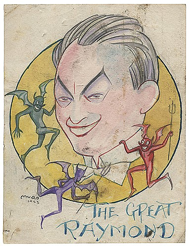 Raymond, Maurice F. (Morris Raymond Saunders). Pair of Caricature Drawings of Raymond by Muao. 1920s/1923. The first (13 x 9 _î) a pen and ink illustration on paper depicting an array of lawmen from around the world wrapping Raymond with rope; the