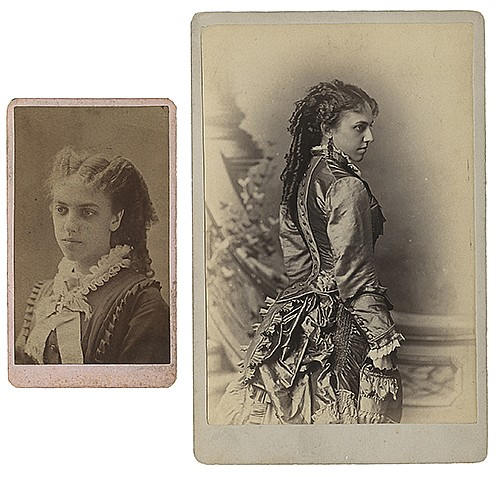 [Raymond, Maurice F. (Morris Raymond Saunders)]. Two Cabinet Card Portraits of RaymondÍs Mother. Akron, ca. 1890s or 1900s. Antique bust and three-quarter length portraits of RaymondÍs mother, Martha Saunders. The larger example 6 _ x 4 _î. On
