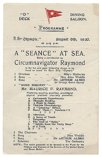 Raymond, Maurice F. (Morris Raymond Saunders). Archive of Great Raymond Programs from Around the World. Various printers, 1910s _ 30s. Approximately 40 pieces, possibly unique in size and scope, of Raymond programs and handbills including
