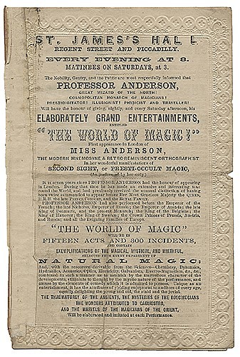 Anderson, Professor (John Henry Anderson). Professor Anderson St. JamesÍs Hall Program. London, ca. 1869. Letterpress bi-fold program with decorative embossed borders stamped in blind, featuring the ñGreat Wizard of the Northî in ñThe World of