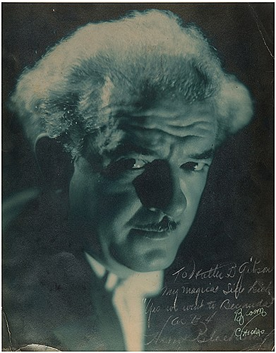 Blackstone, Harry. Inscribed and Signed Portrait of Blackstone. Chicago: Bloom, ca. 1936. Handsome studio cyanotype portrait of Blackstone looking sternly into the camera. Inscribed and signed in the lower right corner, ñTo Walter B. Gibson, my