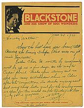 Blackstone, Harry. Autograph Letter Signed, ñHarry,î to Walter B. Gibson. June 23, 1933. On BlackstoneÍs ñShow of 1001 Wondersî pictorial bi-fold promotional letterhead, an affectionate letter regarding recent travel, the upcoming season, and