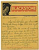 Blackstone, Harry. Autograph Letter Signed, ñHarry,î to Walter B. Gibson. June 23, 1933. On BlackstoneÍs ñShow of 1001 Wondersî pictorial bi-fold promotional letterhead, an affectionate letter regarding recent travel, the upcoming season, and
