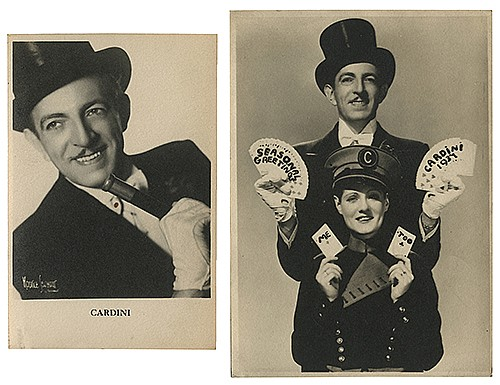 Cardini (Richard Valentine Pitchford). Four Pieces of Cardini Ephemera. Circa 1940s _ 50s. Including an advertising card for the Suave DeceiverÍs upcoming appearance at CiroÍs Club (London); two vintage postcards; and a vintage print of silhouette