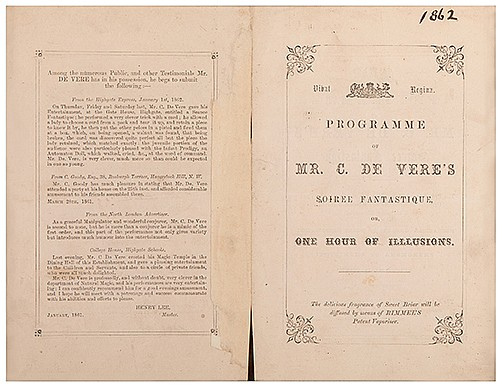 DeVere, Charles (Herbert Shakespeare Gardiner Williams). DeVere Program. Soiree Fantastique, or One Hour of Illusions. [London], 1862. Letterpress bi-fold program, with decorative borders, woodcut armorials. Program in two parts, enumerated in detail
