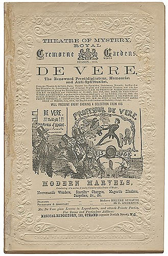 DeVere, Charles (Herbert Shakespeare Gardiner Williams). DeVere Program. Modern Marvels, Necromantic Wonders, Startling Changes, Magnetic Illusions, Surprises. London, 1875. Letterpress bi-fold program at the Theatre of Mystery, Royal Cremorne