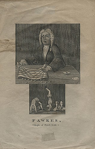 Fawkes, Isaac. Fawkes, Slight of Hand-Man. [London], n.d. Engraving depicting the conjuror with a bag of tricks, cards on the table to his left, with acrobats in a panel below. Affixed to album page, with slight discoloration at lower and right