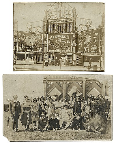 Flosso, Al (Albert Levinson). Two Real Photo Sideshow Postcards of Flosso. New York, ca. 1920s. Sepia-tone postcards, the first depicting the entrance to the Dreamland Circus Sideshow at Coney Island, with a banner for Lionel Half-Man Half-Lion at