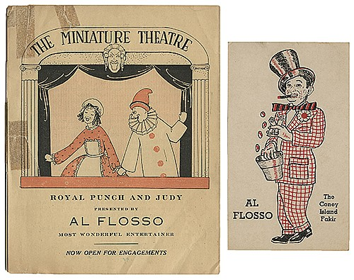 Flosso, Al (Albert Levinson). File of Photos, Postcards, and Ephemera. 1920s _ 40s. Including a vintage photograph of Flosso at a pitchmanÍs stand with the Al. G. Barnes Big Side Show (8 x 10î); an early Al Flosso ñMagician DeLuxeî pictorial