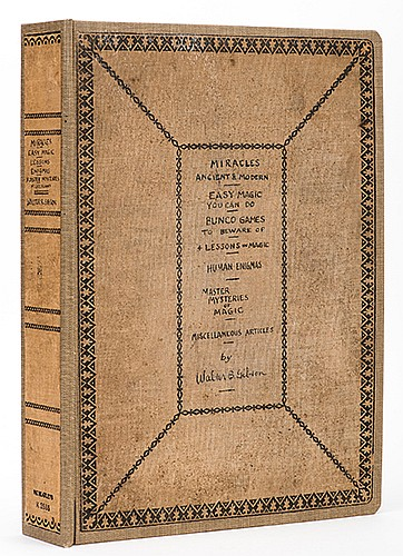 Gibson, Walter. Scrapbook of Magical Literature by Gibson. Author, 1922 _ 1928. Embossed 4to cloth volume handwritten with the contents and signed by Gibson on the cover. Annotated on the flyleaf: ñAutographed for the authorÍs collection of Magical