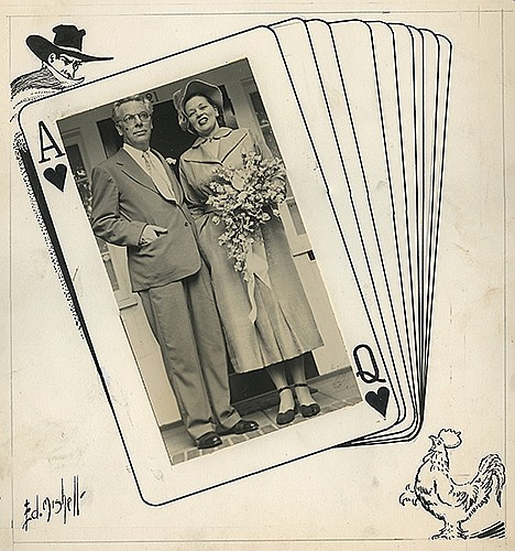 Gibson, Walter and Litzka Raymond. Wedding Playing Card Artwork Featuring the Shadow. Ed Mishell, 1949. Pen and ink on board. Featuring The Shadow in one corner and the rooster China Boy in the other, incorporating a vintage photo of the couple at