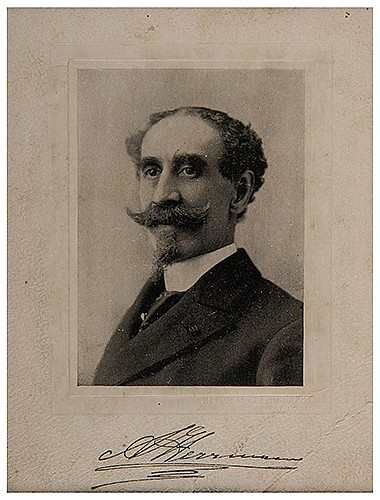 Herrmann, Alexander. Photographic Portrait of Herrmann. St. Louis: National Chemigraph Co., ca. 1890s. Iconic bust portrait of the French magician, on embossed printerÍs mount, with pre-print signature in the lower margin. Lower right corner