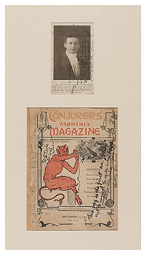 Houdini, Harry (Ehrich Weiss). First SubscriberÍs Copy of the First Issue of ConjurersÍ Monthly Inscribed and Signed by Houdini, Together with an Inscribed and Signed Photo of Houdini. August/September, 1906. Two pieces, matted in handsome