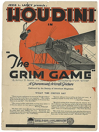 Houdini, Harry (Ehrich Weiss). The Grim Game Promotional Brochure. New York: Famous Players _ Lasky, Paramount-Artcraft, 1919. Pictorial bi-fold brochure for HoudiniÍs daredevil feature. 4to. Old horizontal folds, small chips at edges. Good.