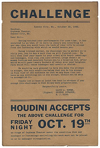 Houdini, Harry (Ehrich Weiss). Nurses Escape Challenge. Kansas City, Mo., 1923. Letterpress handbill for the performance at the Orpheum Theater, in which a group of nurses challenge Houdini to escape from a ñmummy fashionî suit made of paper