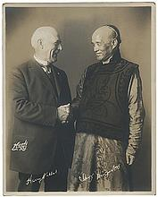 Kellar, Harry and Ching Ling Foo. Portrait of Kellar and Ching Ling Foo. New York: Moody, ca. 1920. Sepia-toned three-quarter length portrait of the magicians shaking hands, bearing both of their pre-print signatures. Studio stamp on verso. 10 x 8î.
