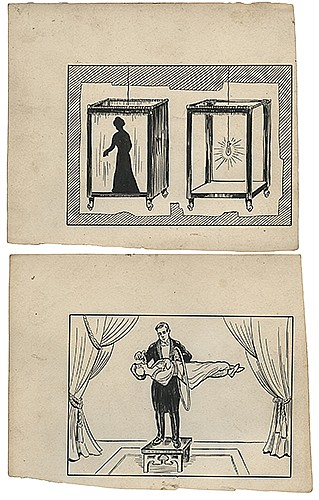 arbell, Harlan. Group of Seven Original Illusion Illustrations. Groveland, Ill., ca. 1910. An early set of pen and ink illustrations by Tarbell, depicting stage levitations, transpositions, and other illusions. One signed in the lower right by