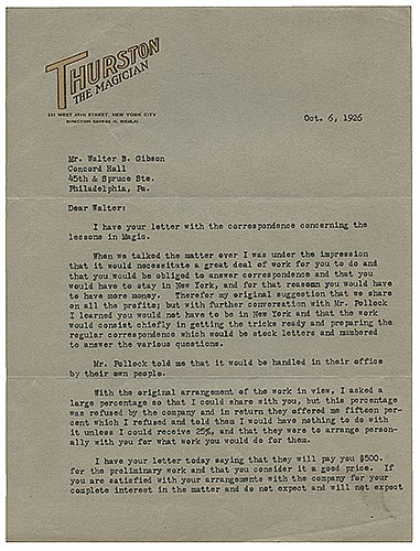Thurston, Howard. Typed Letter Signed, ñHoward Thurston,î to Walter B. Gibson. New York, October 6, 1926. On ThurstonÍs two-color embossed letterhead, two pages, regarding a venture to collaborate on printed lessons in magic, and discussing