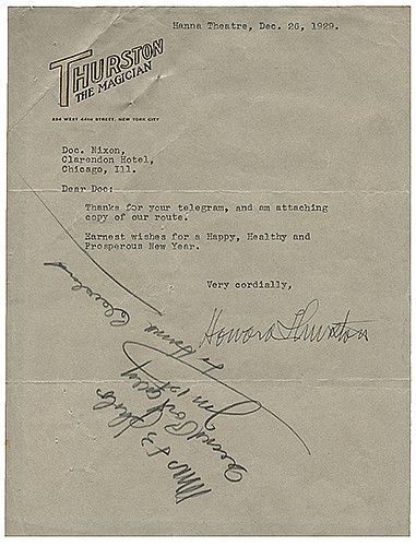 Thurston, Howard. Typed Letter Signed, ñHoward Thurston,î to Doc Nixon. Cleveland, December 26, 1929. On ThurstonÍs two-color embossed letterhead, a letter wishing Nixon a Happy New Year. 7 x 9 _î. Very good.