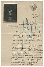 Trewey, Felicien. Pair of Autograph Letters Signed, ñF. Trewey,î to Maurice Raymond. Asnieres_sur-Seine, France, 1916. On two different examples of TreweyÍs pictorial notepaper, in somewhat broken English, regarding his desire to attend a matinee
