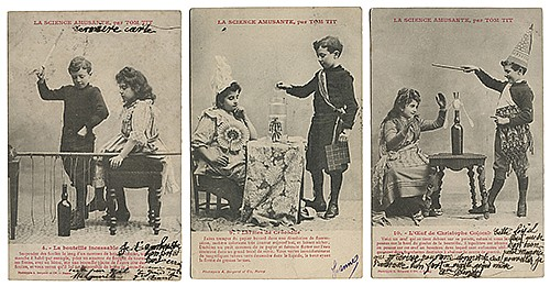 Tom Tit ñLa Science Amusanteî Magic-Themed Photographic Postcards. Paris, ca. 1900. Set of ten postcards, depicting children performing the various optical, mechanical, and pneumatic experiments and illusions explained in Arthur GoodÍs series.