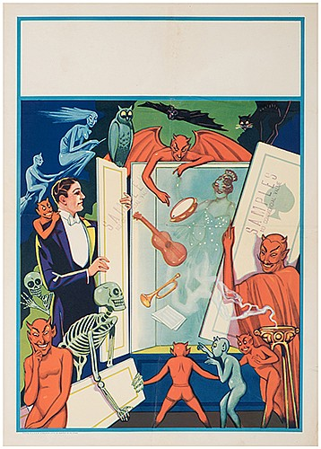 [Stock Posters] Two Vintage MagicianÍs Posters. Newport: Donaldson Litho, ca. 1930s. Color lithograph sample posters bearing vignettes of a magic show. One with printerÍs affixed price list label, both stamped as samples. Folded. Creases, short