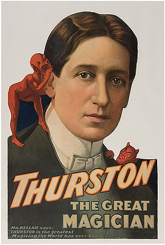 Thurston, Howard. Thurston the Great Magician. [Cincinnati]: [Strobridge], ca. 1900s. Color lithograph portrait of Thurston with imps on his shoulders, apparently trimmed from a poster. Scattered minor repaired losses; old folds. 25 x 16 _î. Gilt