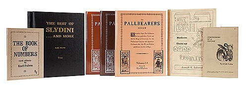 Fulves, Karl. Group of Fulves Books on Magic. Including Pallbearers Review (1993; three vols.); The Best of Slydini (1976; two vols.); Confessions of a Psychic (1975); Book of Numbers (1971); and Modern Close-Up Card Problems (1981) by Joseph K.