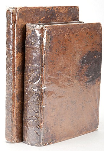[Lacombe, Jacques] Dictionnaire Encyclopedique Des Amusements Des Sciences, Mathematiques et Physiques. Paris: Chez Panckoucke, 1792. Two volumes (text and plates). Contemporary mottled calf, raised spine stamped ornamentally in gilt, morocco title