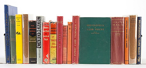 [Miscellaneous _ Classics] Shelf of 17 Vintage and Classic Volumes on Conjuring, Several Inscribed to John Scarne. Including Professional Card Magic (1961; inscribed and signed by the author to Scarne); Sleight of Hand (1979) by Sachs; BlackstoneÍs