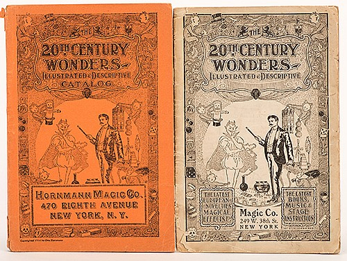 Hornmann Magic Co. 20th Century Wonders. New York, 1907/1916. Two catalogs, publisherÍs pictorial wrappers. Illustrated. 8vos. Small tears and chips to wraps, else good overall.