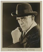 """Boris Karloff Inscribed and Signed """"Lured"""" Publicity Photo."""