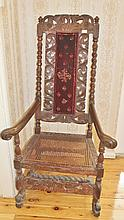 European 19th Century Heavily Carved Oak Armchair H138cm X W69cm