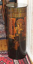 Chinese Black Lacquered Plinth Decorated With Figures Etc H83cm X W30cm