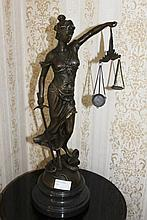 Bronze On Marble Base The Justice Girl 50cm x 15cm