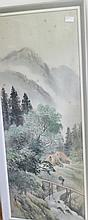 Chinese Water Colour Landscape Scene Signed Lower Left 102cm x 40cm