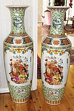 Large Pair of Chinese Porcelain Floor Vases Decorated Figures And Landscape Scene  126cm x 36cm