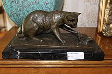 Bronze of A Playing Cat With Butterfly On Marble Base 10cm x 24cm