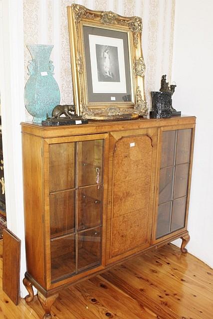 Vintage English Walnut Display Cabinet H120cm X W137cm