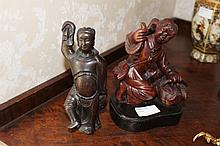 Two Chinese Handwood Figures One Holding A Basket 18cm x 14cm The Other Of Chinese Warrior 17cm x 8cm