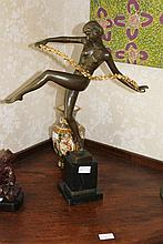 French Bronze Nude Dancer on Marble Base H55cm X W42cm
