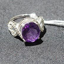 Beautiful Diamond Amethyst And White Sapphire Ring Totalling 10 Round Cut Diamonds