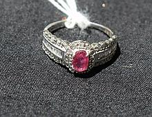 Fancy Ruby And Diamond 10kt Gold Ring Diamonds totalling 52