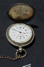 Silver Hall Marked Pocket Watch On Albert Chain With Key. Porcelain Face