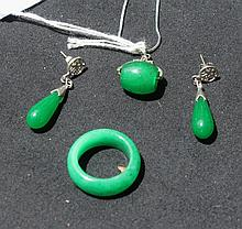 Chinese Jade Pendant And Matching Earring Ring Set