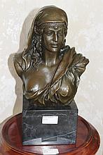 Bronze Bust of an Egyptian On Marble Base 37cm x 15xm