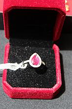 Beautiful Diamond And Ruby 10kt White Gold Ring Ruby Surrounded by 38 Round Diamonds