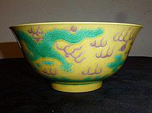 Chinese Yellow Bowl With Green Dragon Decoration